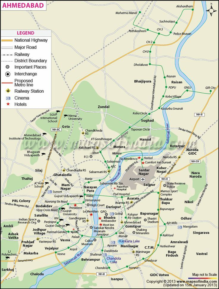 Ahmedabad City Map By wwwmapsofindiacom Ahmedabad City
