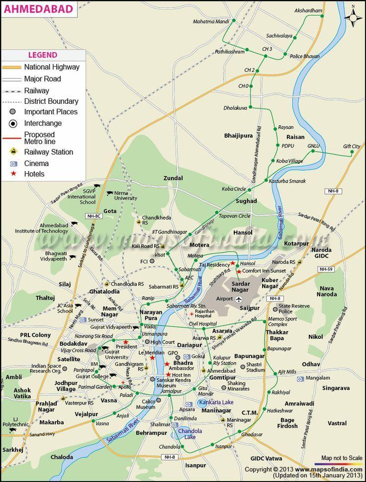 Ahmedabad City Map  By wwwmapsofindiacom  Ahmedabad City