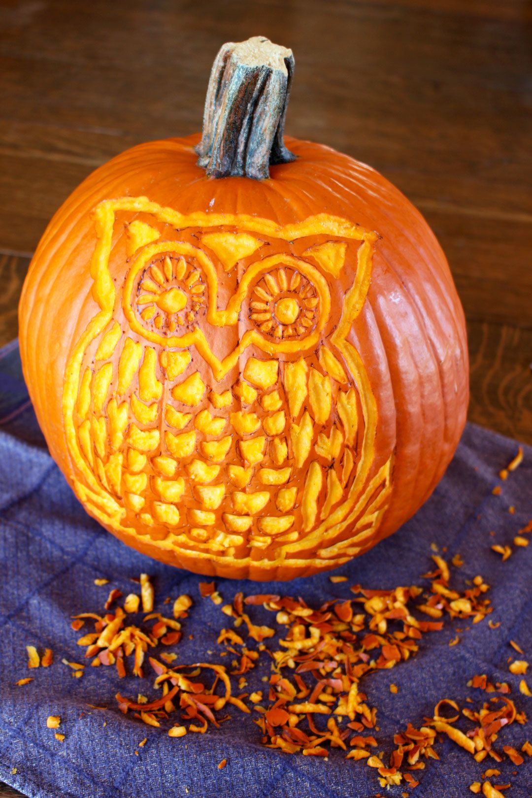 Create a cute woodland owl pumpkin carving with this free pattern