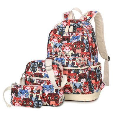 243f5f171d3 3pcs Set Backpack Women Animal Owl Printing Backpack Canvas Bookbags School  Backpacks Bags for Teenage girls Bagpack Backbag