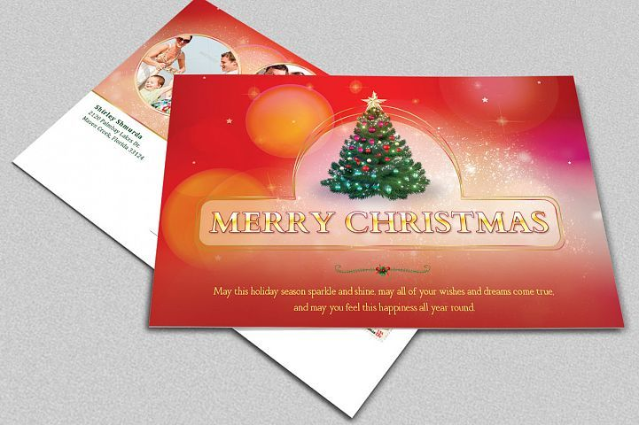 Merry Christmas Postcard Template 4276 Card Making Design Bundles Christmas Postcard Template Christmas Greeting Card Template Christmas Postcard