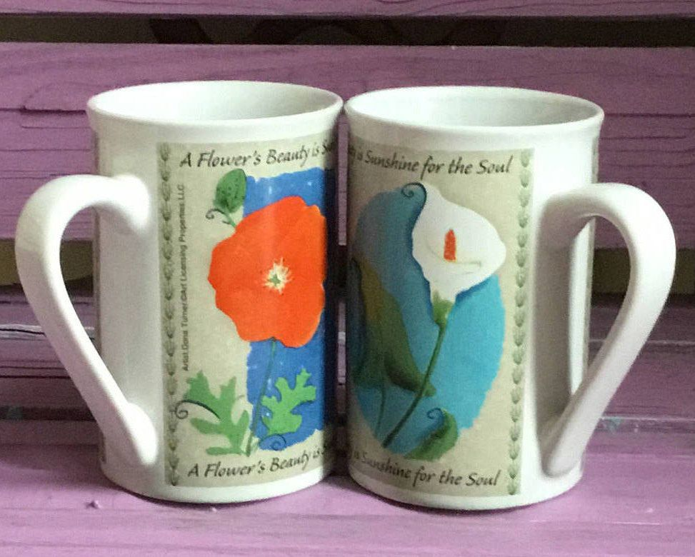 10oz Pair Of Vintage Coffee Tea Cup Mug Cups Mugs Reads A Flowers Beauty Is Sunshine For The Soul Dona Turner Artist 10 Oz Bitchin Kitchen Mugs Vint
