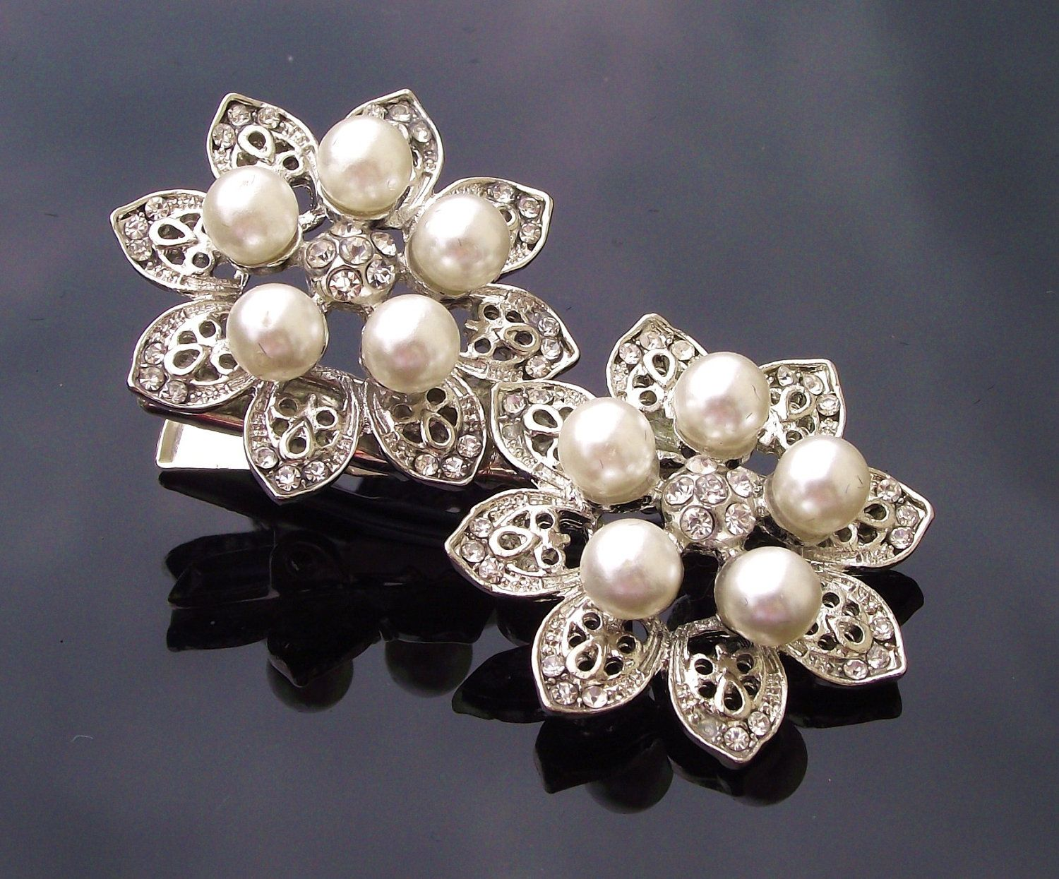 Double Pearl Hair Clip with Crystals Vintage Style Alyson Ivory