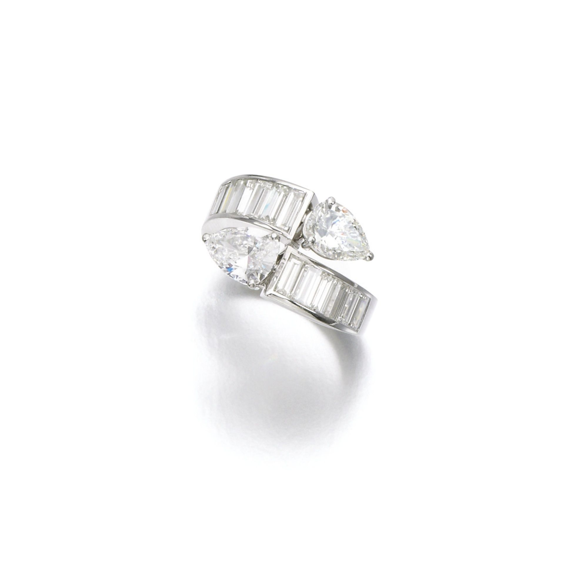 diamond ring gbelin of toi et moi design set with two pearshaped