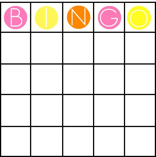 Blank Bingo Cards Template  Party Ideas    Language