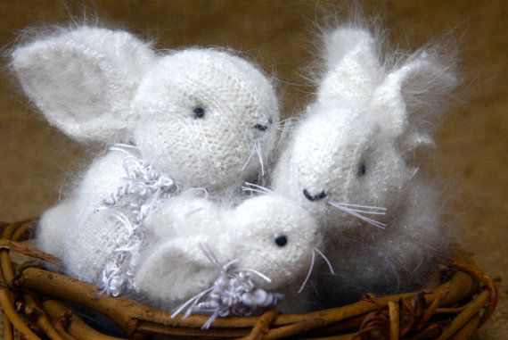 White Angora Bunny Famiy 3 eco friendly hand sewn by woolcrazy, $56.00