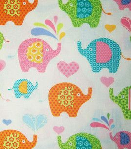 Novelty Quilt Fabric Light Yellow Fat Elephants