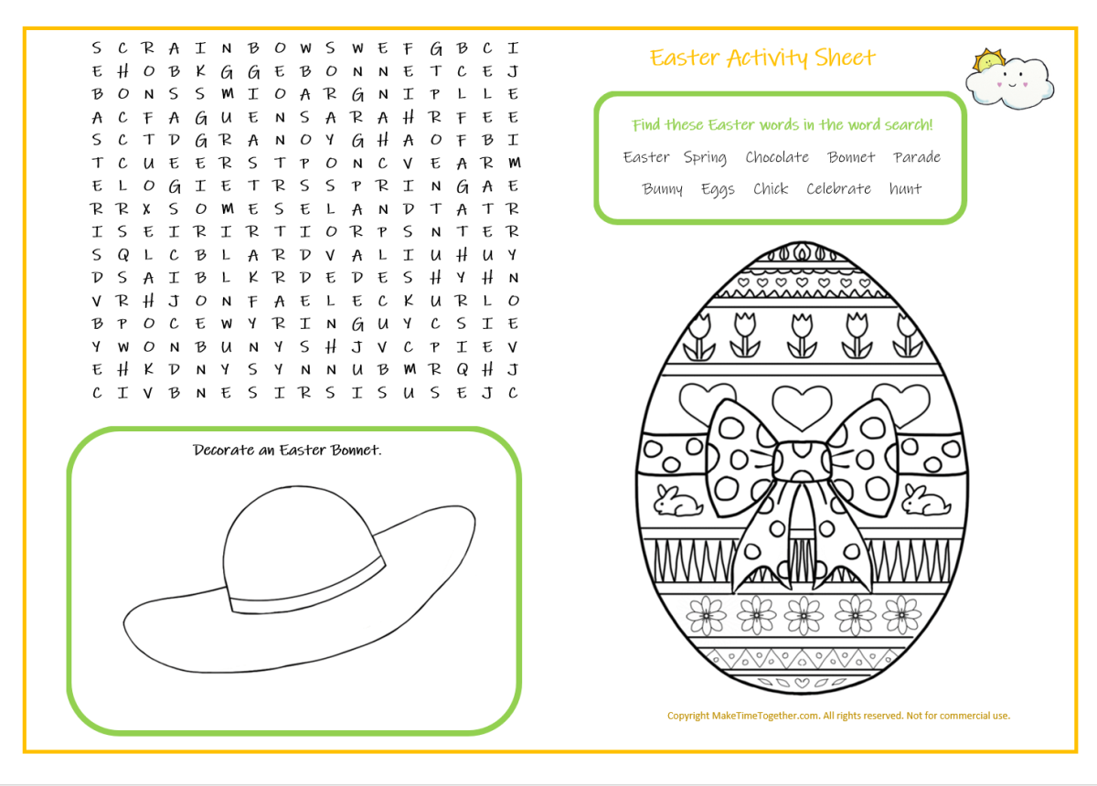 Easter Activity Sheet Make Time Together Free Easter Activity Page Free Printable Colourin Rainbow Activities Easter Activities Free Printable Coloring Pages