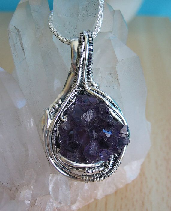 Amethyst Crystal Cluster Heady Wire Wrap Pendant, Sterling Silver ...