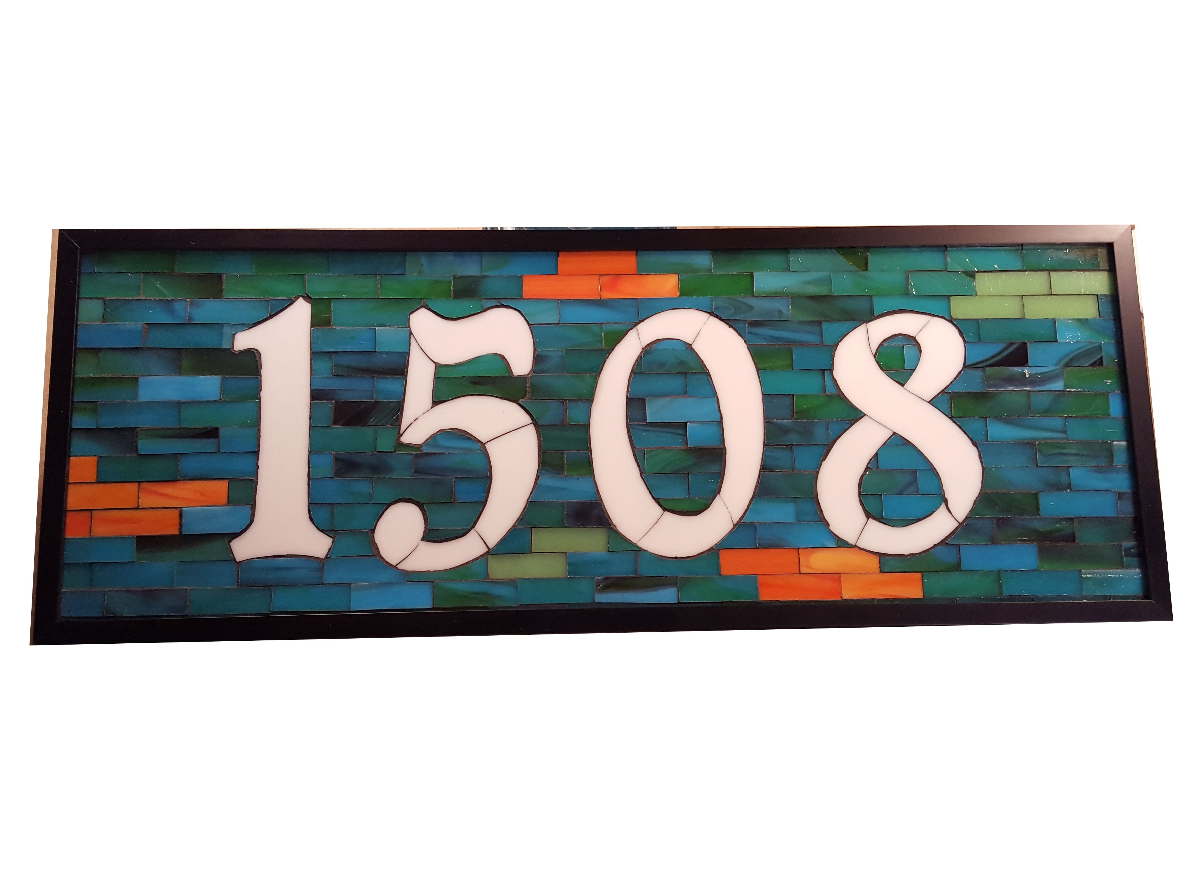 Stained glass mosaic house number by sequential glass art mosaic