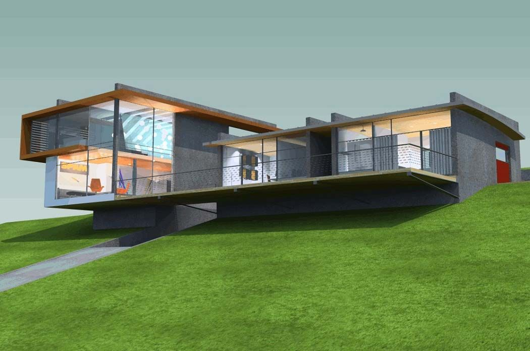 . Hillside House Plans 3D Design With Field Landscape   House in 2019