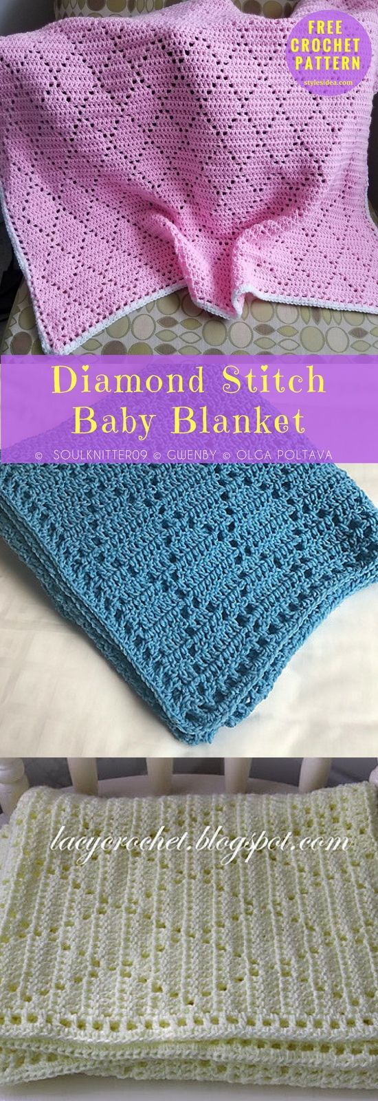 Diamond Stitch Baby Blanket Free Crochet Pattern | Pinterest ...