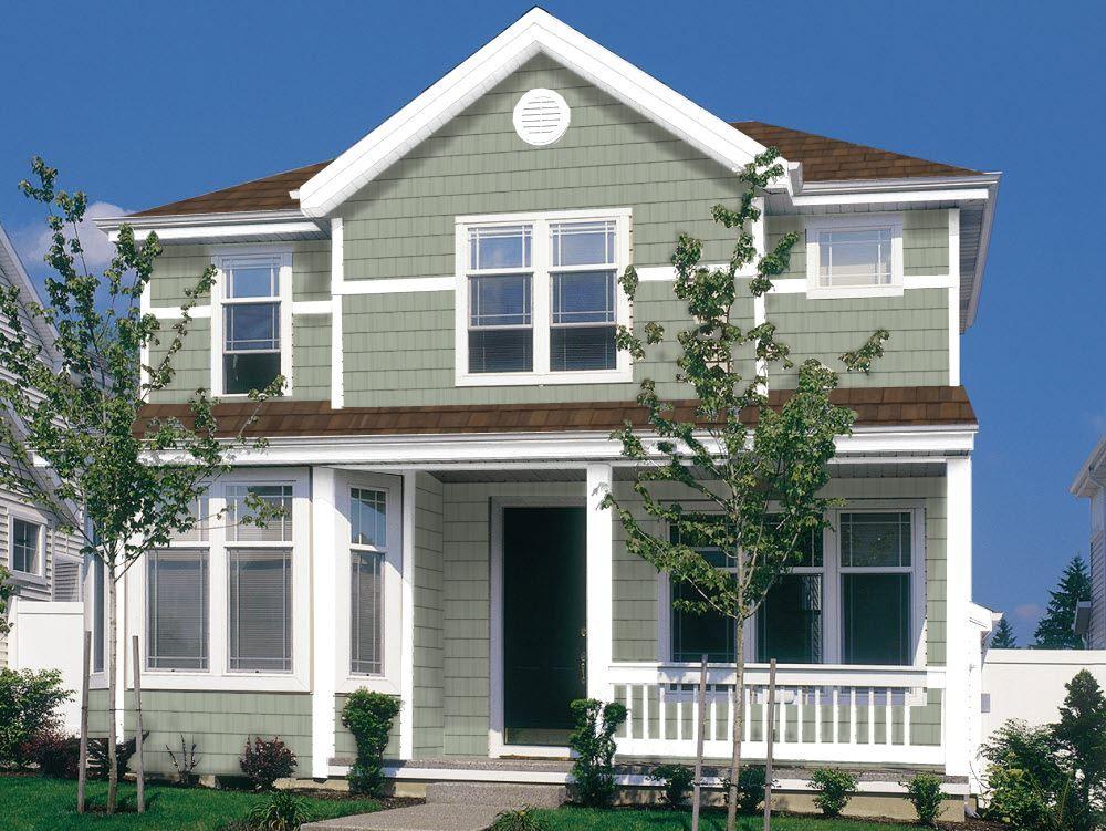 Coastal Sage Pelican Bay One Siding W White Trim Exterior House Siding Vinyl Siding House Exterior Siding Colors