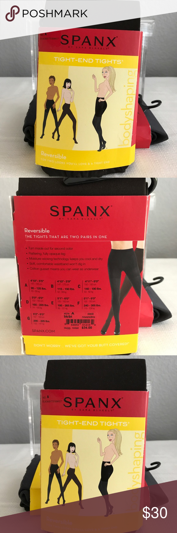 black bittersweet spanx tights reversible size a boutique my posh