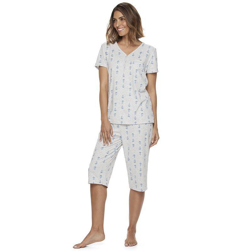 Women's Croft & Barrow® Pajamas: Skimmer Capris & Henley Tee PJ Set, Light Grey