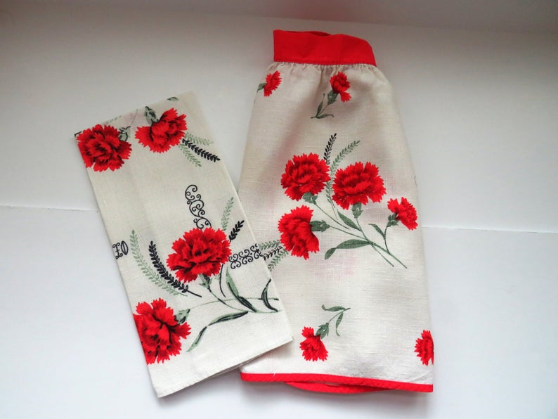 1950/'s Bib Apron Red and Yellow Flowers Original Tag