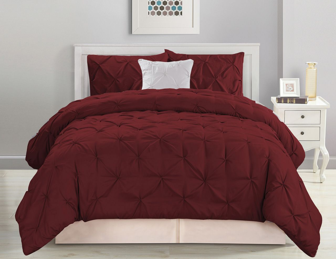 4 Piece Pinched Pleat Burgundy Comforter Set Burgundy Bedroom