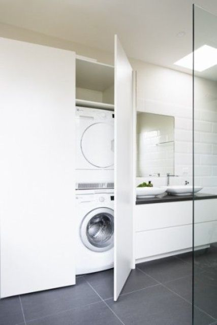 23 creative ways to hide a washing machine in your home laundry in 2019 laundry bathroom. Black Bedroom Furniture Sets. Home Design Ideas