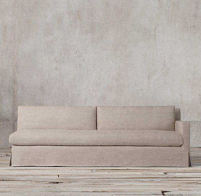 Petite Belgian Track Arm Slipcovered Sofa Grey Rattan Garden Dining Set Right Linen Or Indigo Velvet Like Chaise