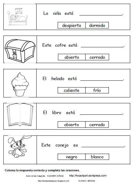 EN EL AULA DE APOYO: CONTRARIOS | Hojas de trabajo preescolar ...