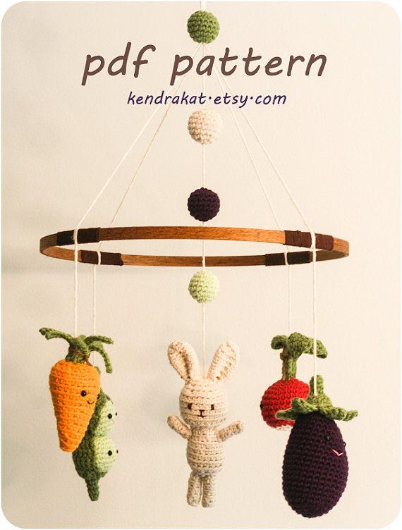 Vegetales poco bebé móvil ganchillo patrón | Crochet baby, Patterns ...