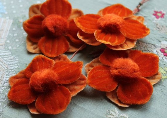 vintage gorgeous millinery flower bloom velvet by duchesstrading, $11.99