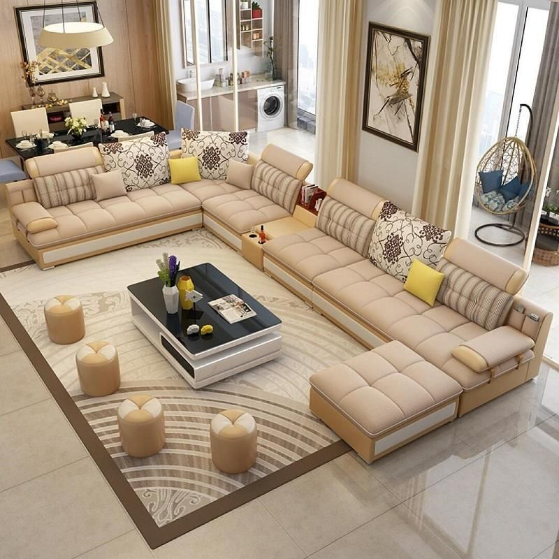 Luxury Modern U Shaped Leather Fabric Corner Sectional Sofa Set