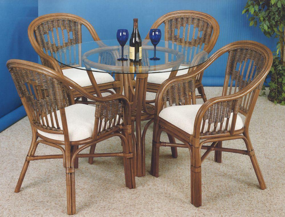 Malibu Stain Finish Dining 6 Pc Set1 Model 3100set1 By Summit Design In 2020 Wicker Dining Set White Wicker Chair Wicker Headboard