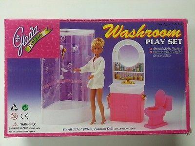 Gloria Washroom Play Set Barbie Size Doll House Furniture// 98020