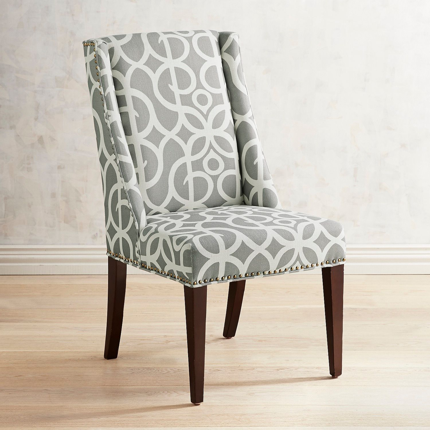 Pewter Wingback Dining Chair With Espresso Wood Gray Dining