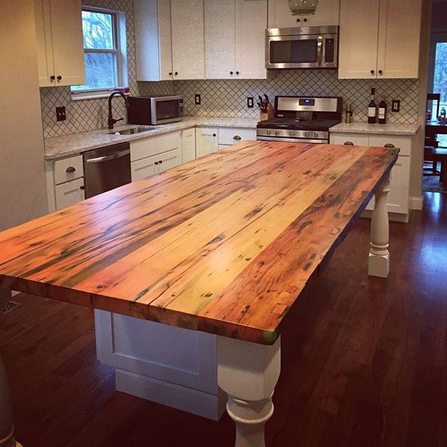 How To Turn New Wood Into Antique Beams Rustic Kitchen Island Wood Island Countertop Diy Kitchen Island