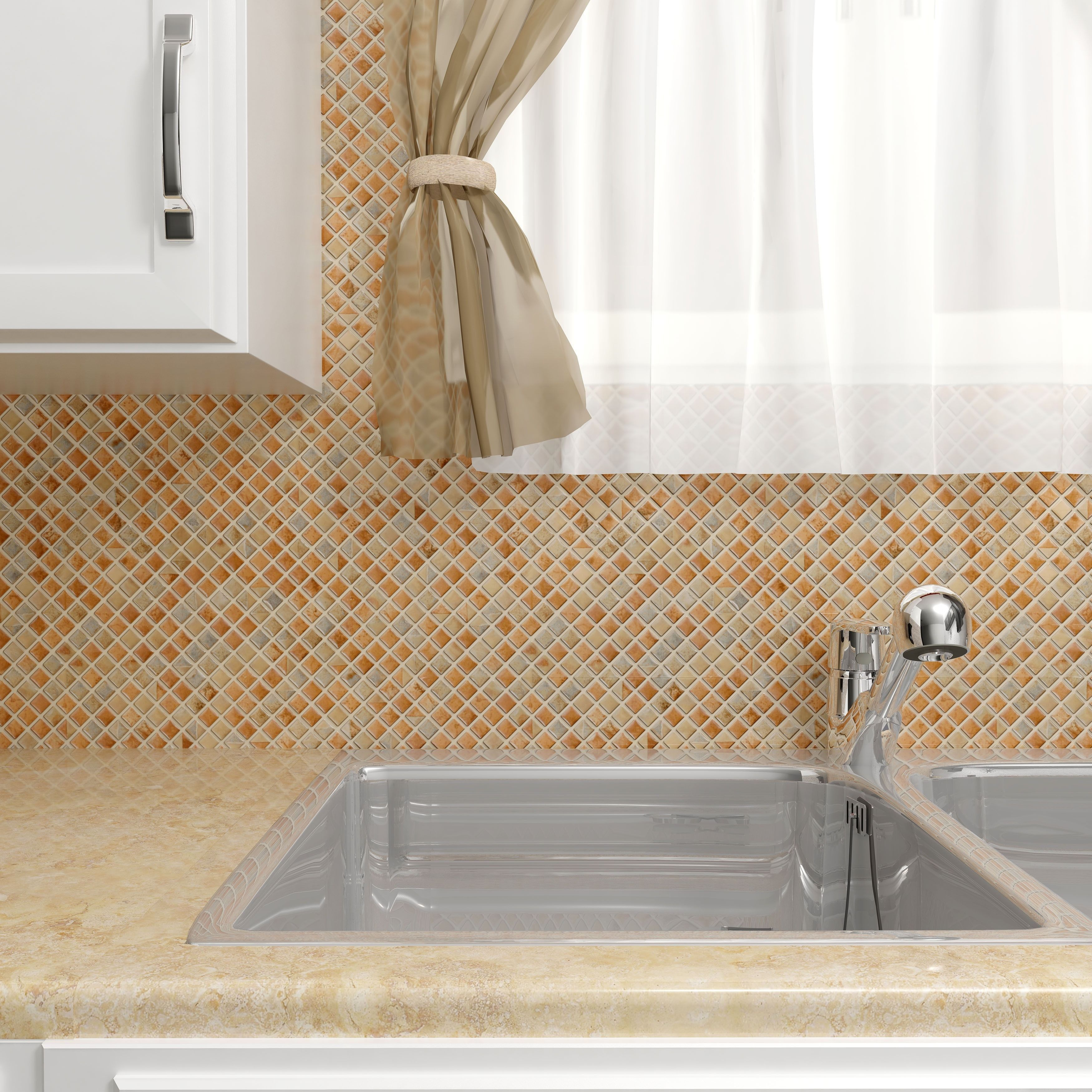 Create a modern look to any area with this porcelain mosaic tile set ...