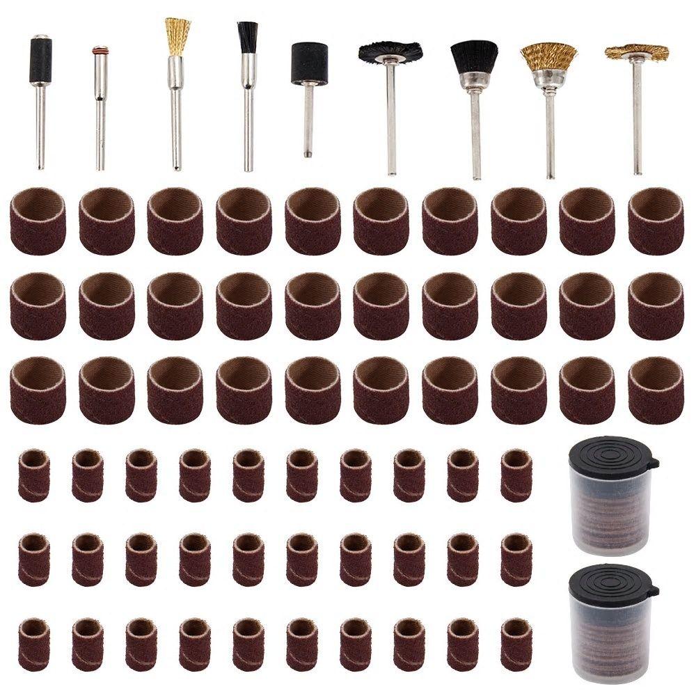 "150Pcs//Set Rotary Power Tool Fits 1//8/"" Shank Sanding Polish Accessory Bit"