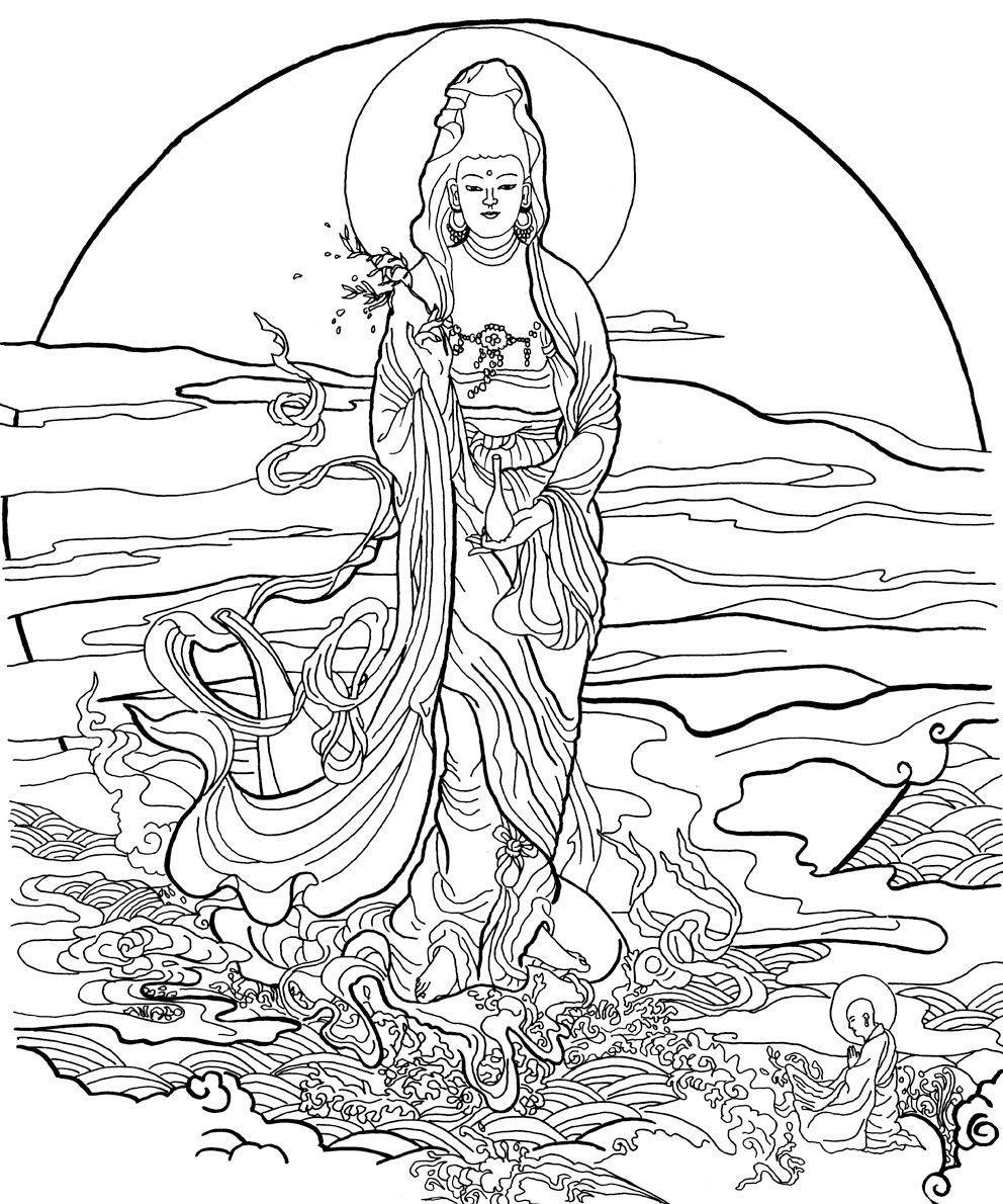 Dessin à colorier: Mythologie Hindou: Bouddha (Dieux et ...