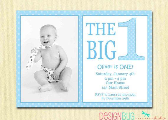 The Big One First Birthday Baby Boy Invitation By DesignBugStudio