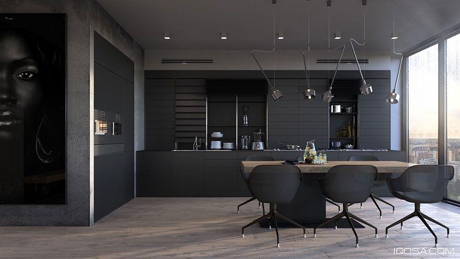 Cucina nera di design 03 | Cucine | Pinterest | Cucina nera ...