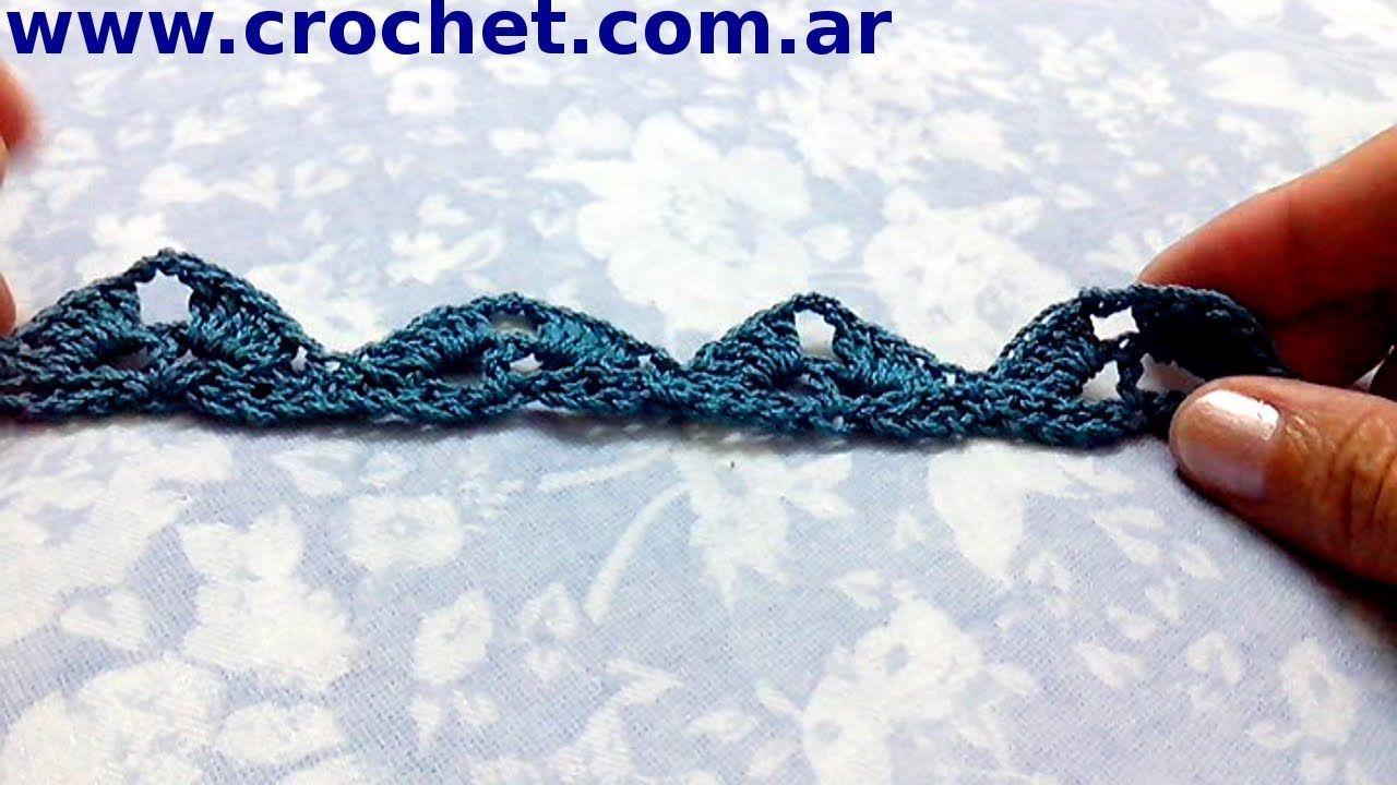 Puntilla N° 25 en tejido crochet tutorial paso a paso.