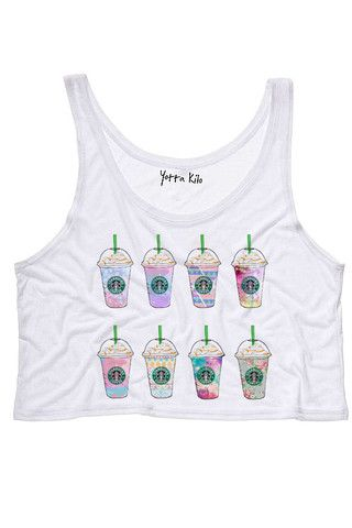 Cute Galaxy Coffee Crop Tank Top - Yotta Kilo