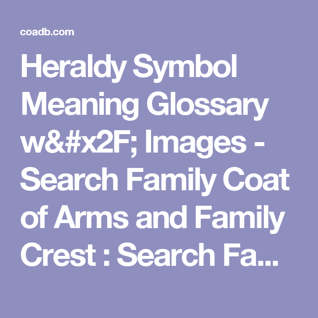 Heraldy Symbol Meaning Glossary W Images Search Family Coat Of