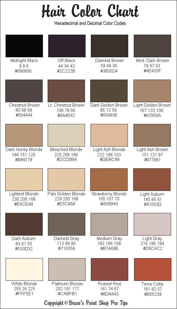 Hair Color Chart Skin Color Palette Skin Color Chart