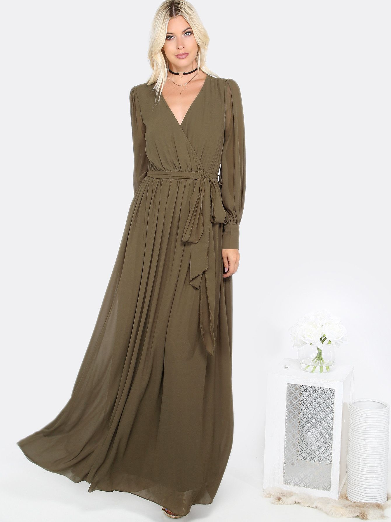 Olive Green Surplice Wrap Cuff Sleeve Maxi Dress