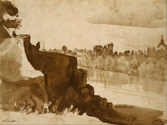Claude Lorrain (1604/1605 –1682)  - View of the Tiber at Rome