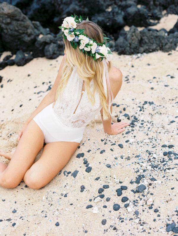 What does every bride need for her honeymoon? This bridal bathing suit! #destinationwedding #honeymoon #swimsuit http://www.weddingchicks.com/2013/11/07/hawaiian-engagement/