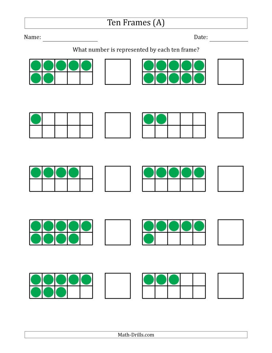 The Completed Ten Frames With The Numbers In Random Order A Math Worksheet From The Number Sense Worksheets Pa Math Worksheets Kids Math Worksheets Ten Frame