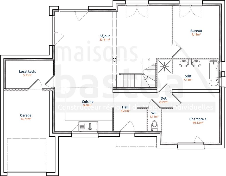 aurelia plan maison cubique moderne rdc par maisons bastea
