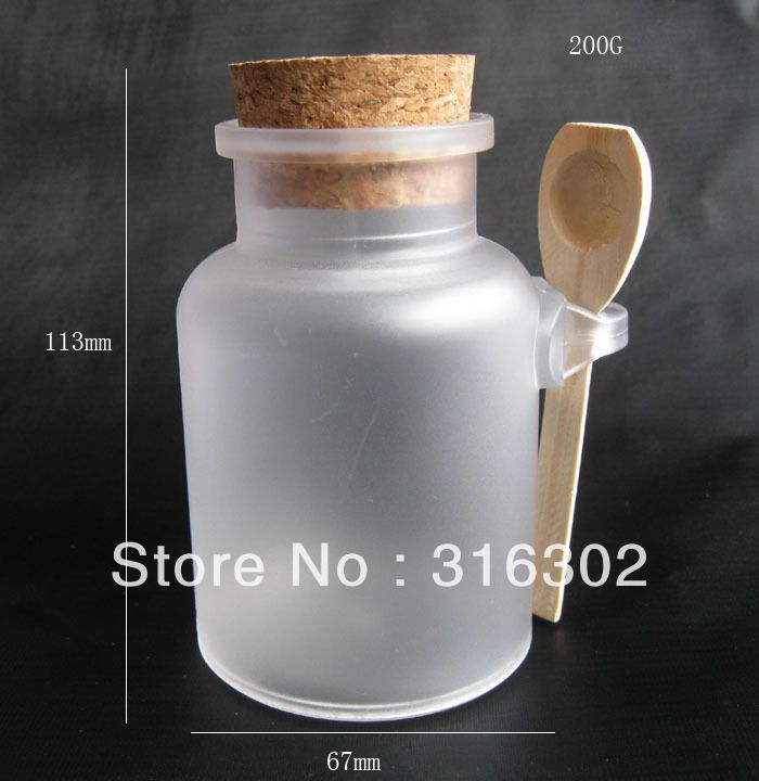 Free shipping   200G bath salt Bottle, 200ml powder plastic bottle with cork, bath salt jar with wood spoon-in Bottles from Industry & Business on Aliexpress.com | Alibaba Group