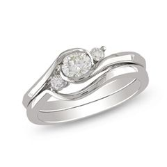 1/2 CT. T.W. Diamond Three Stone Bridal Set in 10K White Gold - View All Jewelry - Gordon's Jewelers