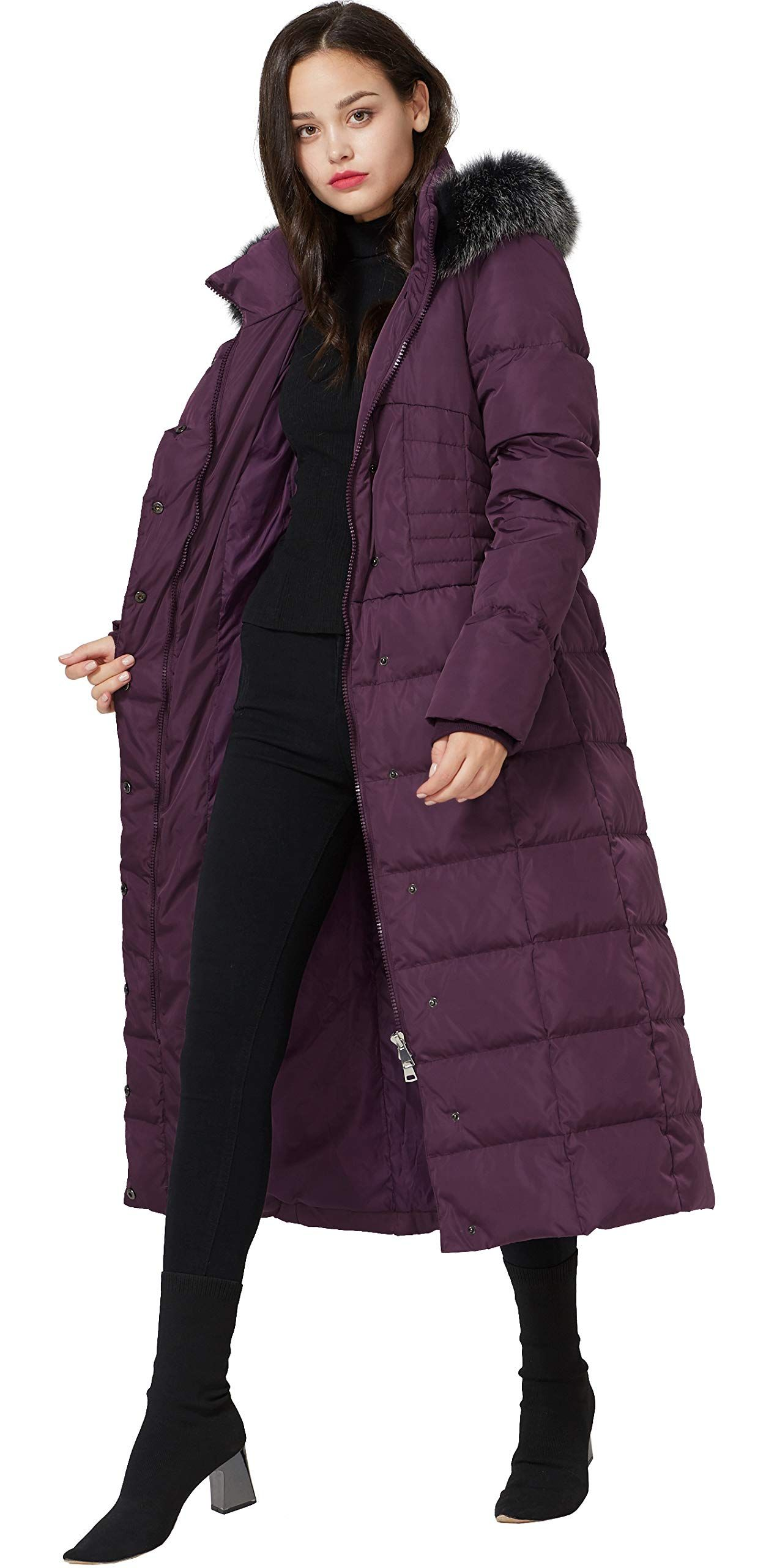 4f15112d0 Molodo Women's Long Down Coat with Fur Hood Maxi Down Parka Puffer ...