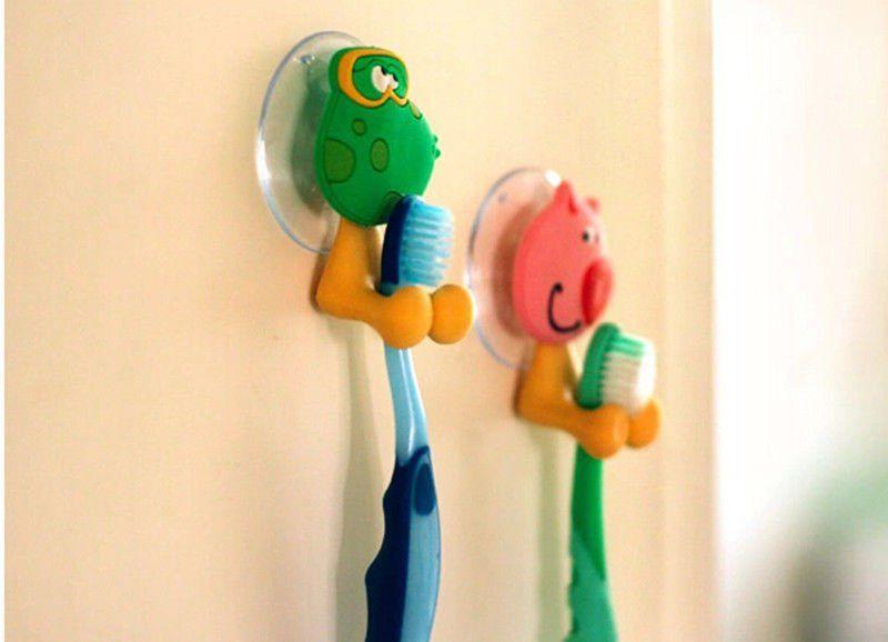 Kids Cartoon Animal Toothbrush Holder Wall Mount Sucker Bathroom Suction Cup YD