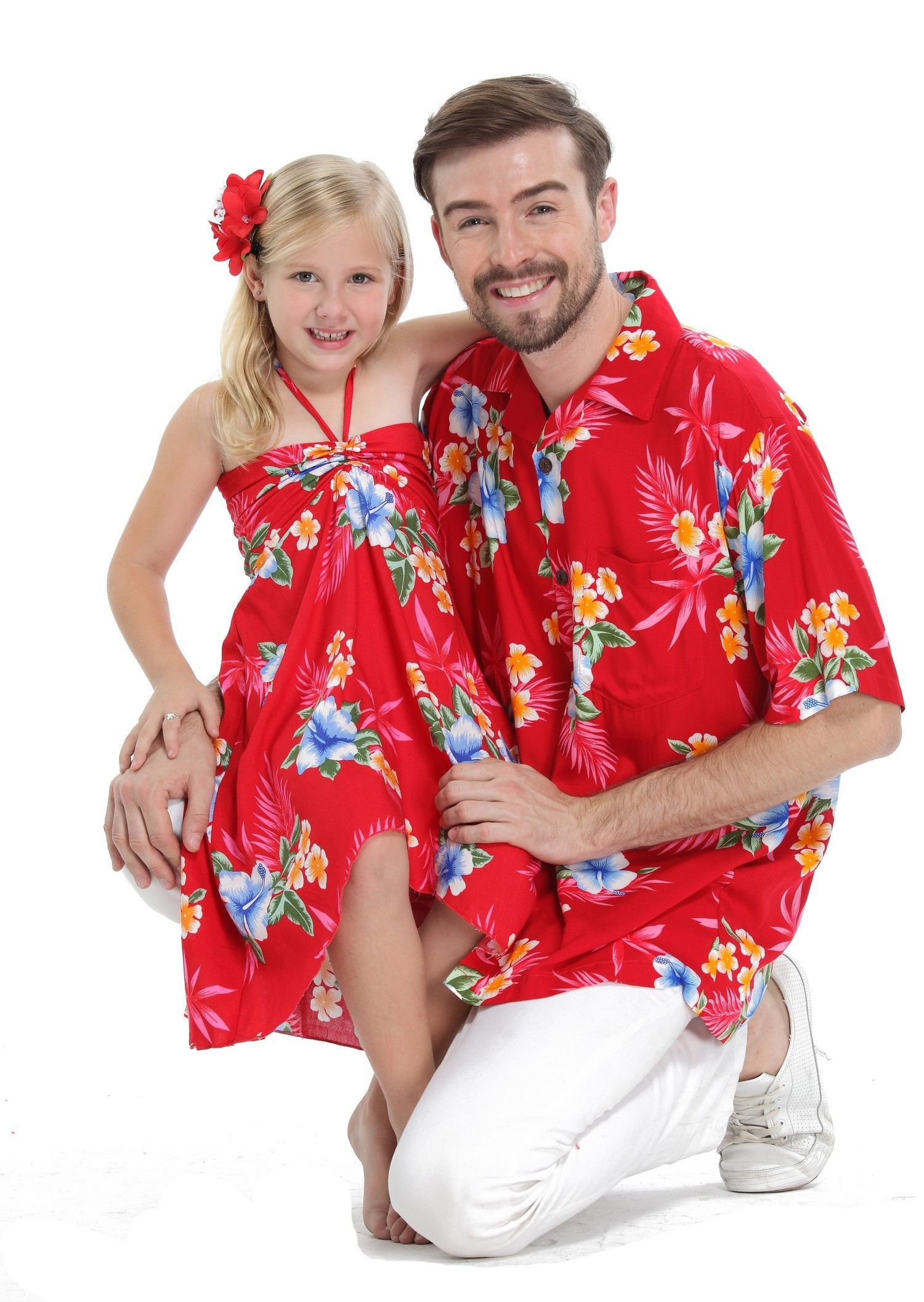36fe9780 Father Daughter Matching Men Shirt and Girl Butterfly Dress in Hibiscus Red